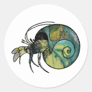 Hermit Crab Round Sticker