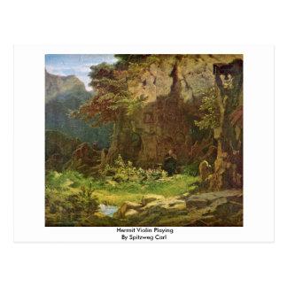 Hermit Violin Playing By Spitzweg Carl Postcard