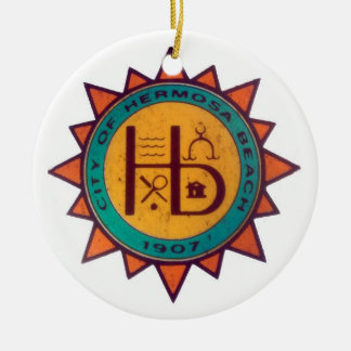 Hermosa Beach Seal Ceramic Ornament
