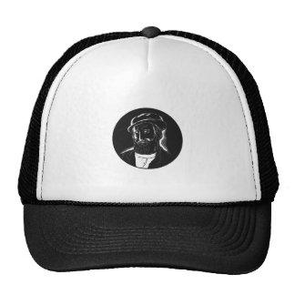 Hernan Cortes Conquistador Woodcut Trucker Hat
