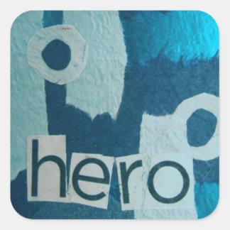Hero Blue mixed media collage Square Sticker