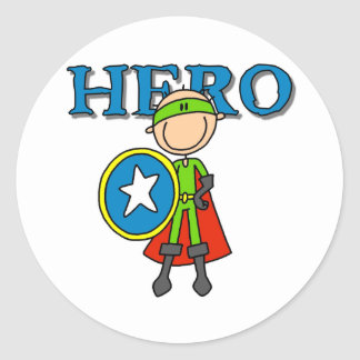 Hero Boy with Shield Classic Round Sticker