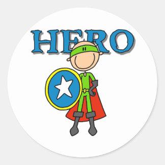 Hero Boy with Shield Round Sticker