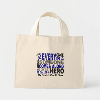 HERO COMES ALONG 1 Aunt COLON CANCER T-Shirts Mini Tote Bag