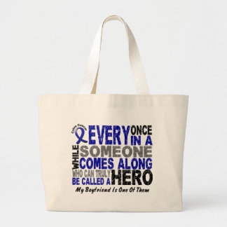 HERO COMES ALONG 1 Boyfriend COLON CANCER T-Shirts Large Tote Bag