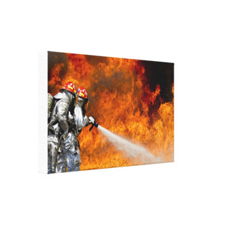 Hero Firefighters Fighting Inferno Canvas Print