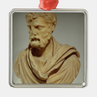 Herodes Atticus, marble head, Roman, 101-80 AD, pr Silver-Colored Square Ornament