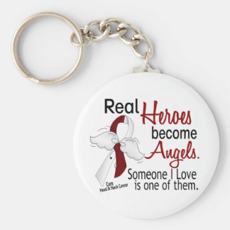 Heroes Become Angels Head And Neck Cancer Basic Round Button Keychain