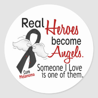 Heroes Become Angels Melanoma Round Sticker