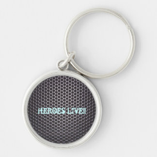 HEROES LIVE! Silver-Colored ROUND KEYCHAIN