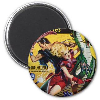Heroic Blonde Rides a Dinosaur 2 Inch Round Magnet
