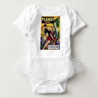 Heroic Blonde Rides a Dinosaur Baby Bodysuit