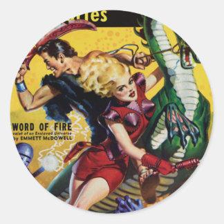 Heroic Blonde Rides a Dinosaur Classic Round Sticker