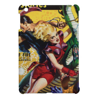 Heroic Blonde Rides a Dinosaur iPad Mini Cover