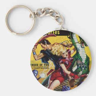 Heroic Blonde Rides a Dinosaur Keychain