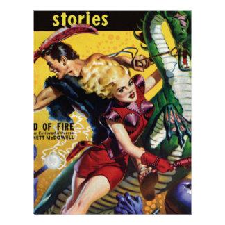 Heroic Blonde Rides a Dinosaur Letterhead