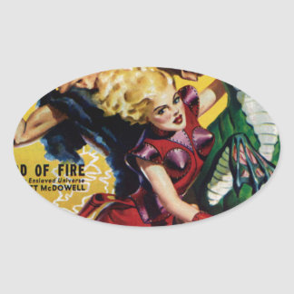 Heroic Blonde Rides a Dinosaur Oval Sticker