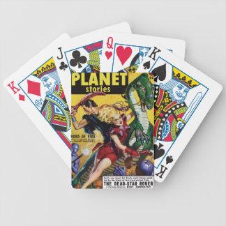 Heroic Blonde Rides a Dinosaur Poker Deck