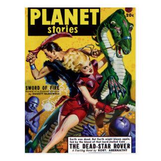 Heroic Blonde Rides a Dinosaur Postcard