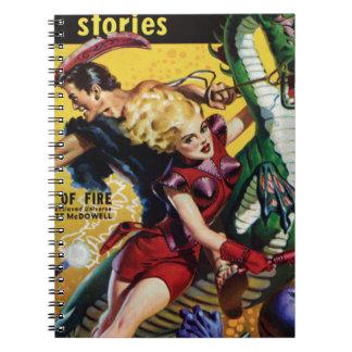 Heroic Blonde Rides a Dinosaur Spiral Notebook