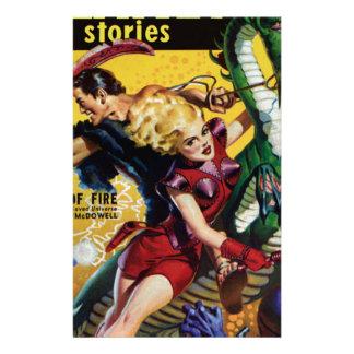 Heroic Blonde Rides a Dinosaur Stationery