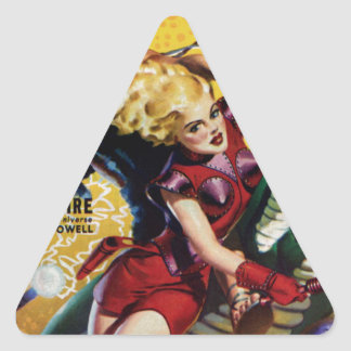 Heroic Blonde Rides a Dinosaur Triangle Sticker