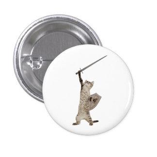 Heroic Warrior Knight Cat 1 Inch Round Button