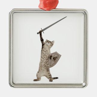 Heroic Warrior Knight Cat Metal Ornament