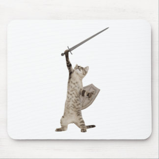 Heroic Warrior Knight Cat Mouse Pad