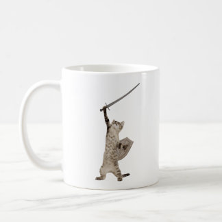 Heroic Warrior Knight Cat Coffee Mug