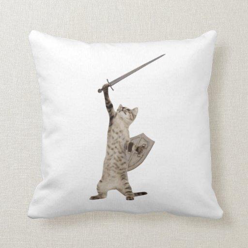 Heroic Warrior Knight Cat Pillow