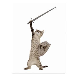 Heroic Warrior Knight Cat Postcard