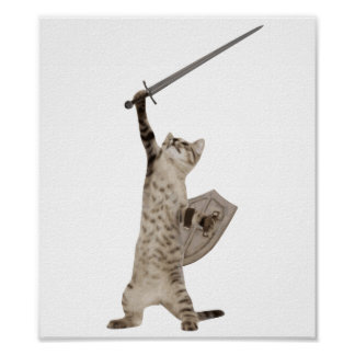 Heroic Warrior Knight Cat Poster