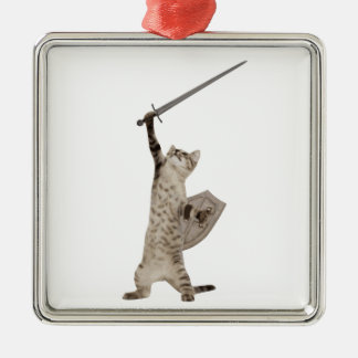 Heroic Warrior Knight Cat Silver-Colored Square Ornament