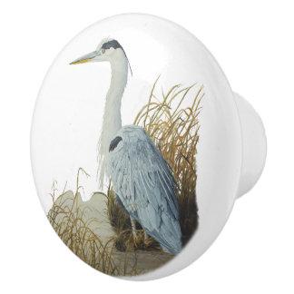 Heron At Marsh Edge Ceramic Knob