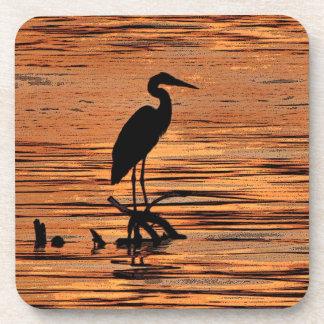 Heron at Sunset Coasters