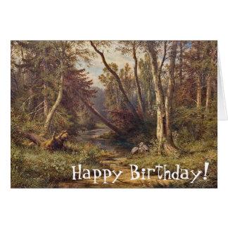Heron Birds Forest Stream Meadow Birthday Card