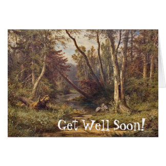 Heron Birds Forest Stream Meadow Get Well Card