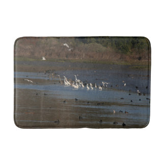 Heron Egret Birds Wildlife Animal Wetland Bath Mat