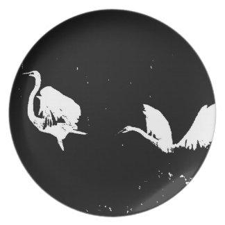 Heron Egret Birds Wildlife Animals Wetlands Dinner Plates