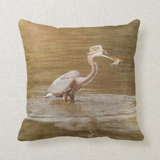 Heron Gone Fishin Pillow