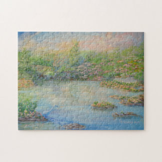 Heron in a Beautiful Pond at Sunrise Jigsaw Puzzle
