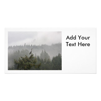 Heron in a Misty Mountain Landscape Picture Card