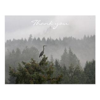 Heron in a Misty Mountain Landscape Post Card
