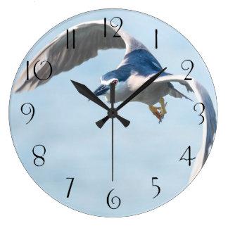 Heron in flight large clock