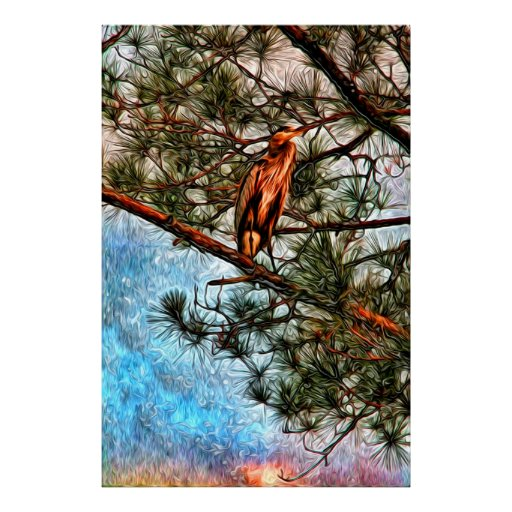 Heron in the Okefenokee at Sunrise Posters