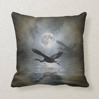 Heron Moon Fantasy Wildlife Animal Heron-lover Throw Pillow