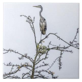 Heron on a tree ceramic tile