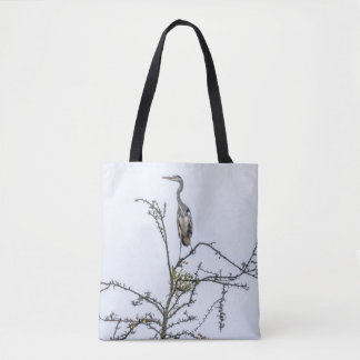 Heron on a tree print-all-over tote bag