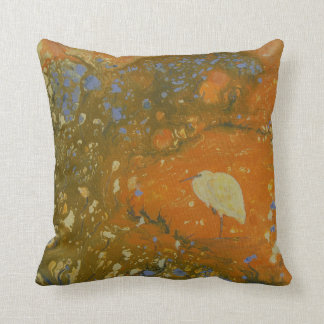Heron on abstract background, unique, pretty throw pillow